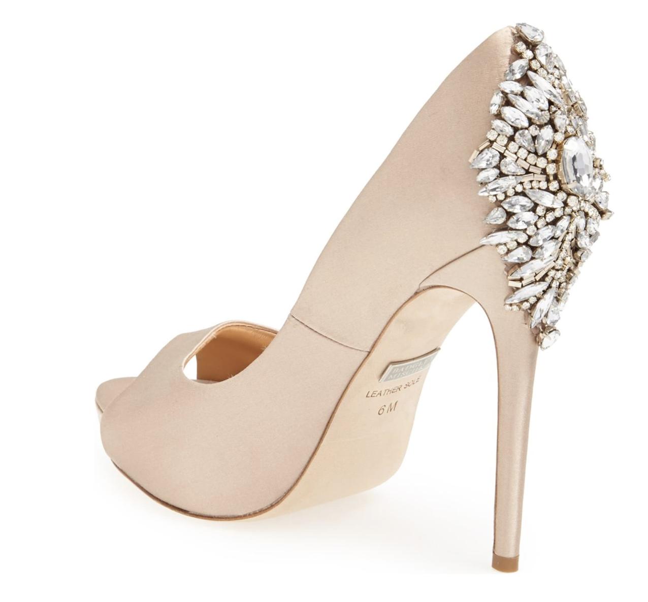 Glam Wedding Heels - Badgley Mischka 'Kiara' Crystal Back Open Toe Pump