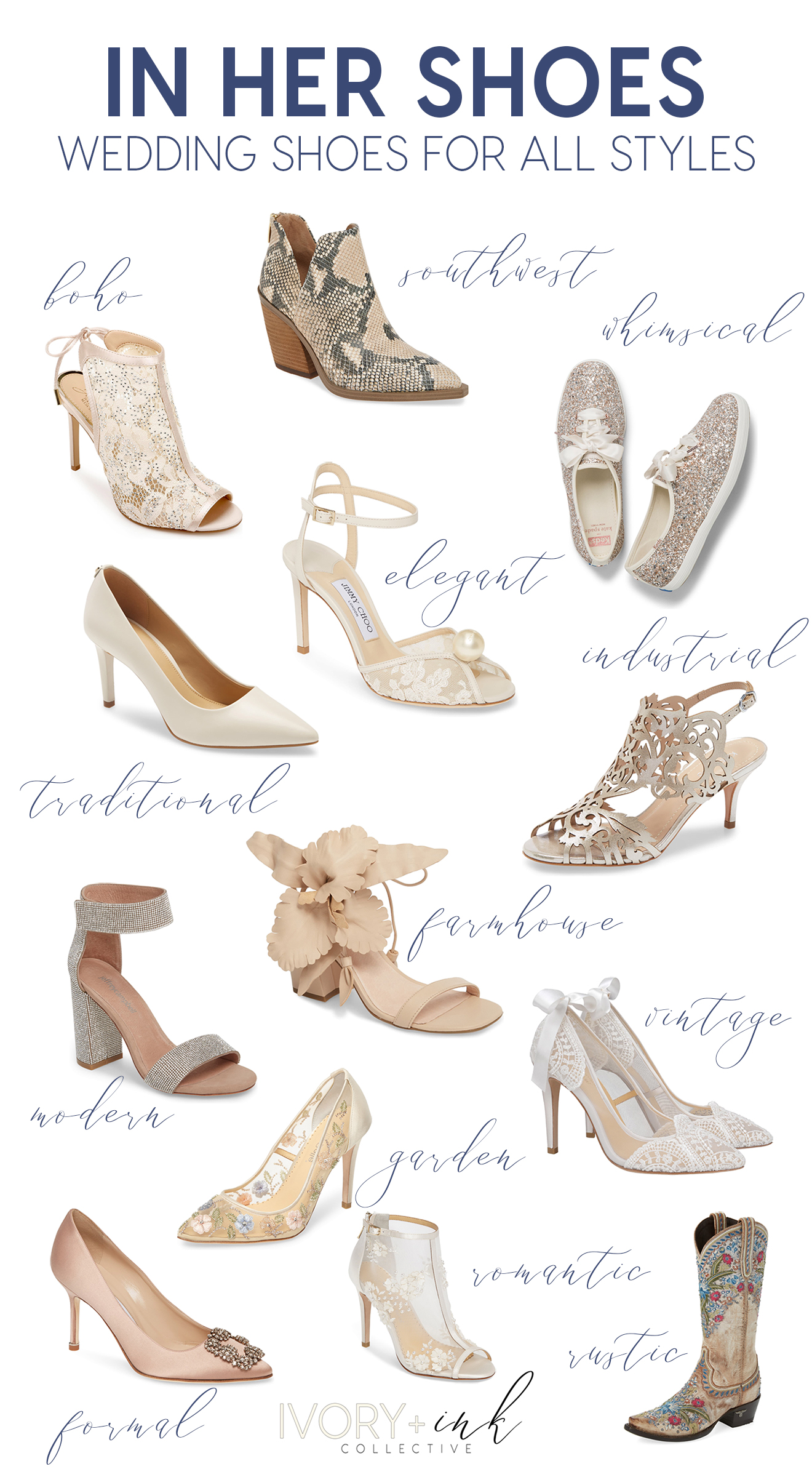Before you can go down the aisle and even before you can get your dress altered, you are going to need to find the perfect pair of wedding shoes. Check out this post featuring various wedding style shoes! Originally published on ivoryandink.com